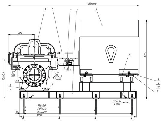 Pump aggregate Delium D350-530А-а УХЛ3.1 with electric motor А4-400У-4МУ3